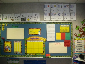 The informative workspace of a first-grade class, from Tom Perry